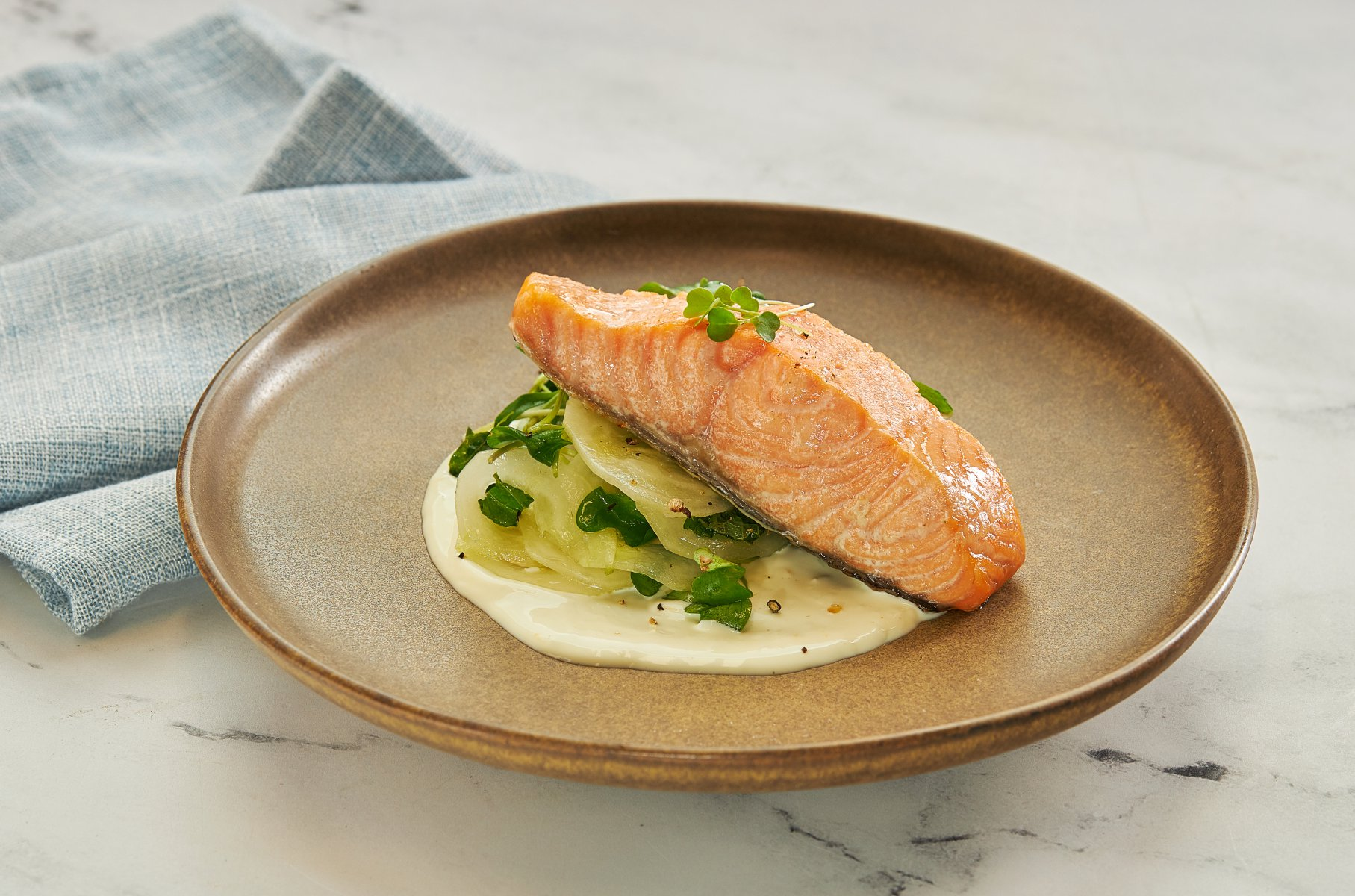 Poached Royal Salmon with Greek Cucumber Salad